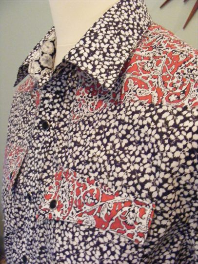 Shirt in Liberty 'Lagos Laurel' with yokes in 'Glenjade' and a touch of 'Toria' https://dandyandrose.com/2012/10/28/107/