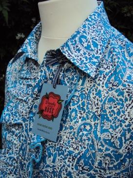 Don Smith's ruffle shirt in Liberty 'Lagos Laurel'