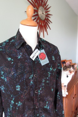 Jim Lauderdale's shirt in Liberty of London's Chinese style floral, with Fancy the Dandy & Rose cat!