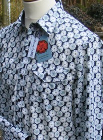 Jim Lauderdale's shirt in black Liberty tana lawn with yokes in 'Amelia Star'