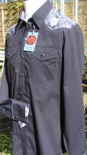 Shirt in black Liberty tana lawn with yokes in 'Amelia Star'