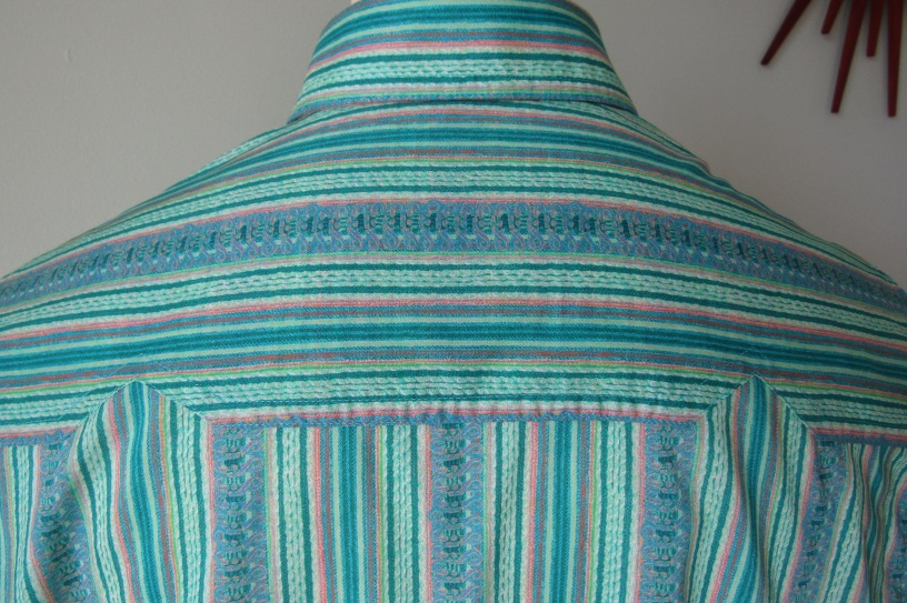 Reed's shirt in Liberty's striped print 'The Braided Brocade'
