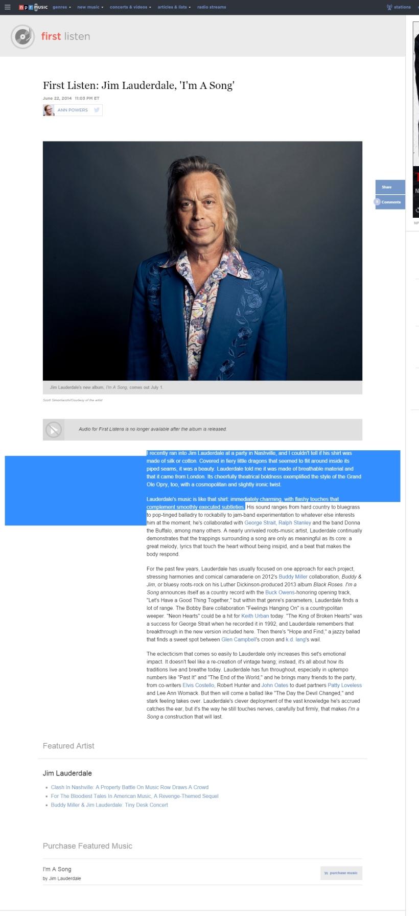 First Listen Jim Lauderdale I m A Song NPR (3)